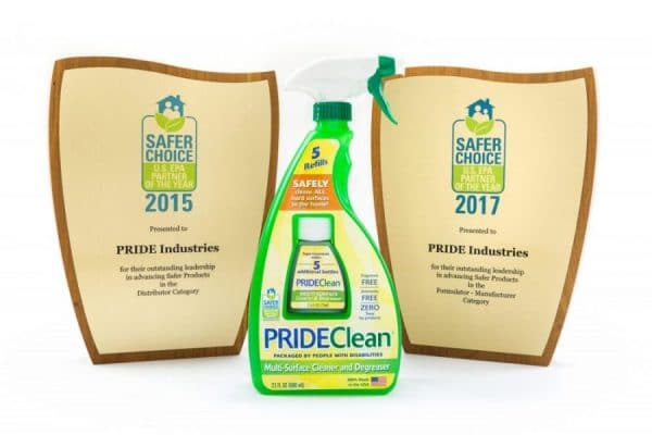 Image of PRIDEClean® awards for being a recipient of the 2017 and 2015 EPA's Safer Choice Partner of the Year