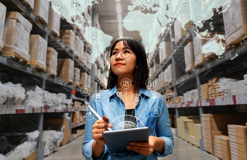 Image of woman managing supply chain services