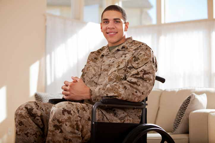Image of disabled military veteran in wheelchair