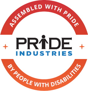 """Logo of PRIDE Industries with the words """"Assembled with PRIDE, People with Disabilities"""""""